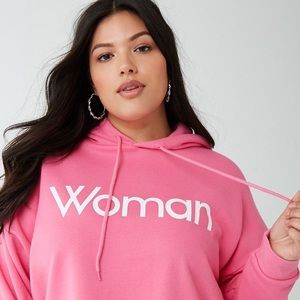 Hot Pink Cropped Sweater Woman Graphic Hoodie Sz S